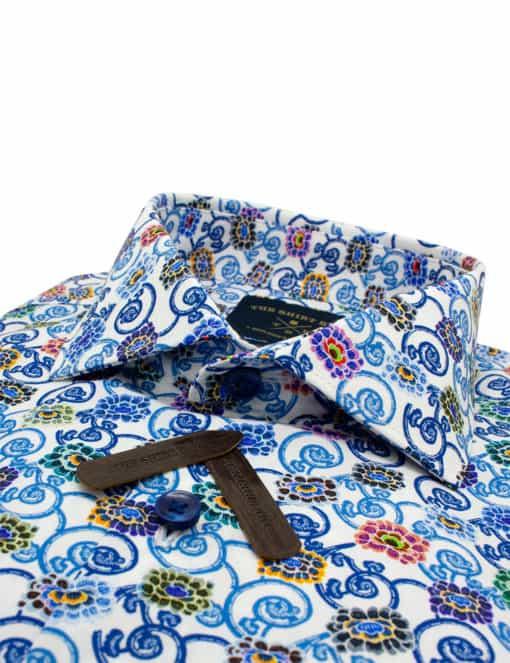 Tailored Fit Blue Printed Premium Italian Fabric Silky Finish Digitally Printed Long Sleeve Single Cuff Shirt TF1C5.13
