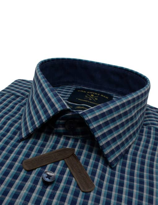 Tailored Fit Navy with Green Checks Easy Care Cotton Blend Wrinkle-Resistant Long Sleeve Single Cuff Shirt TF2A10.14