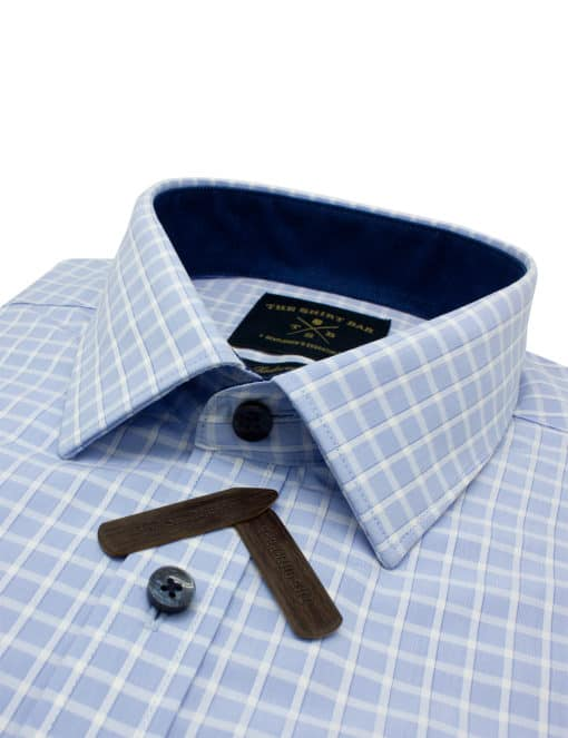 Tailored Fit Sky Blue Checks 100% Cotton Wrinkle Free Long Sleeve Single Cuff Shirt TF2A13.14
