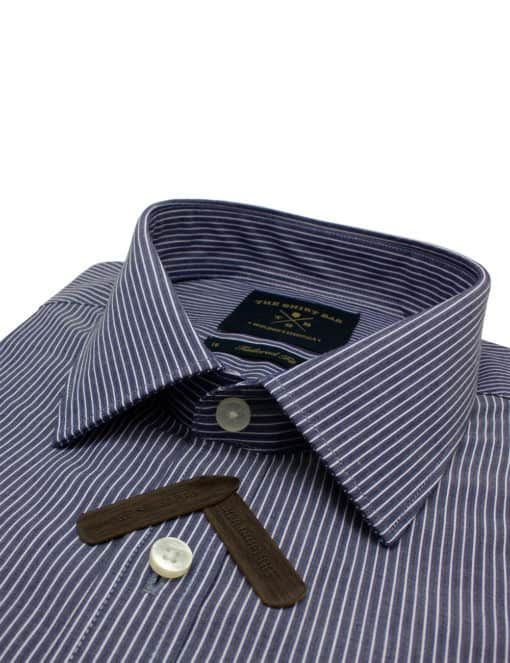 Tailored Fit Navy with White Stripes 100% Cotton Long Sleeve Single Cuff Shirt TF2A15.14