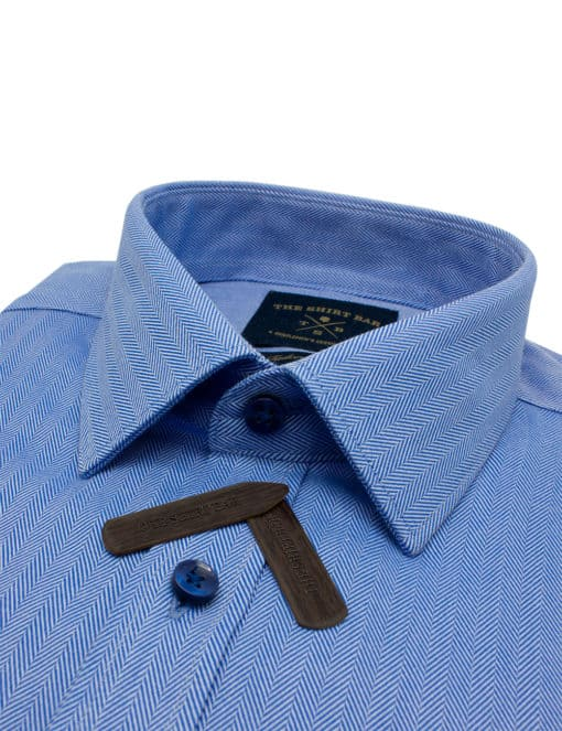Tailored Fit Solid Blue Herringbone 100% Cotton Long Sleeve Single Cuff Shirt TF2A8.14