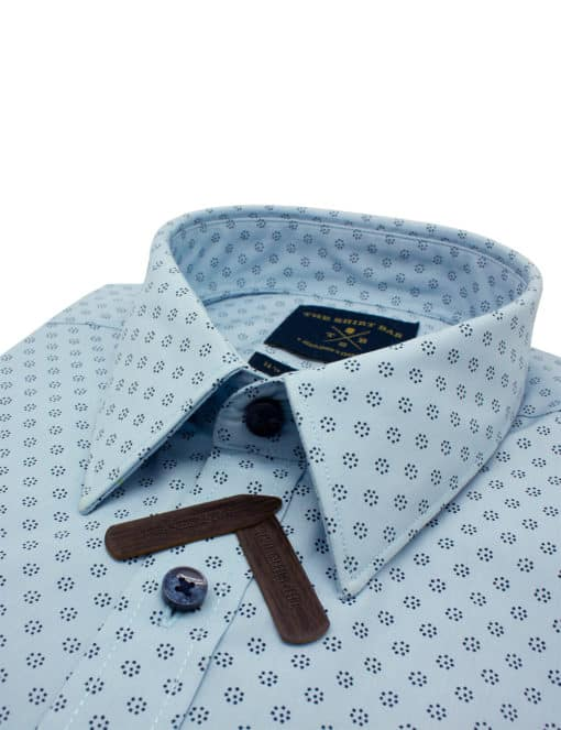 Tailored Fit Blue with Navy Print Easy Care Cotton Blend Wrinkle-Resistant Long Sleeve Single Cuff Shirt TF40A3.14