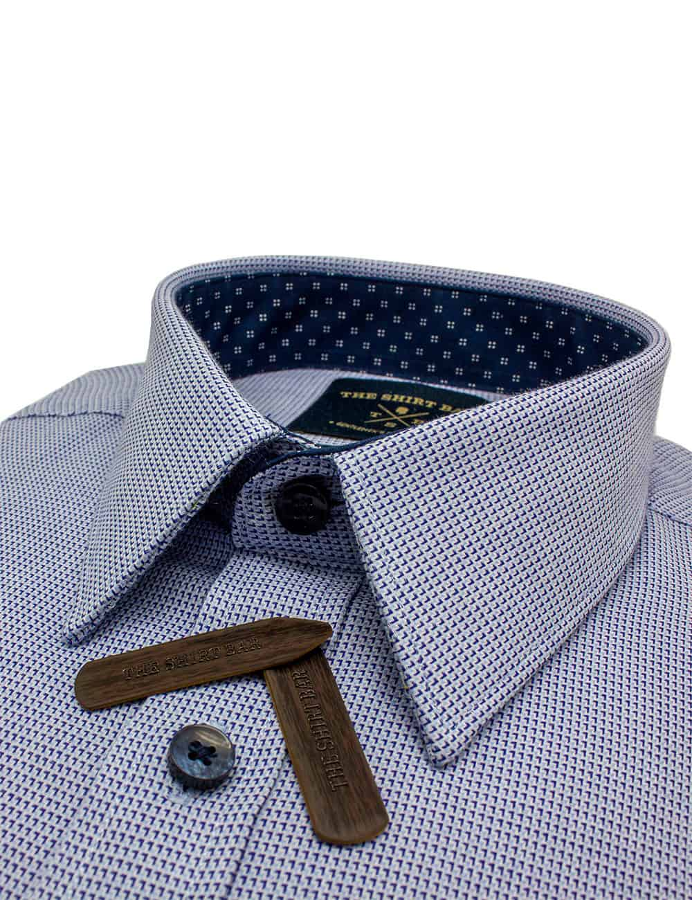 TF Light Blue with Navy Pattern 100% Cotton Long Sleeve Single Cuff Shirt TF40A8.14
