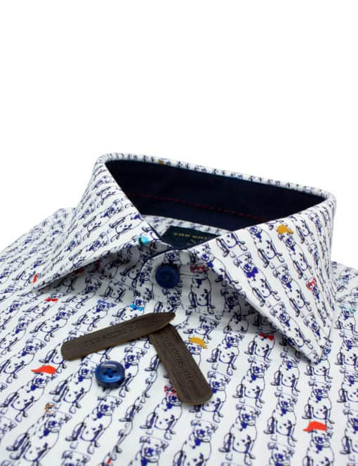 Tailored Fit Navy Doggie Premium Italian Fabric Silky Finish Digitally Printed Long Sleeve Single Cuff Shirt TF45A2.13