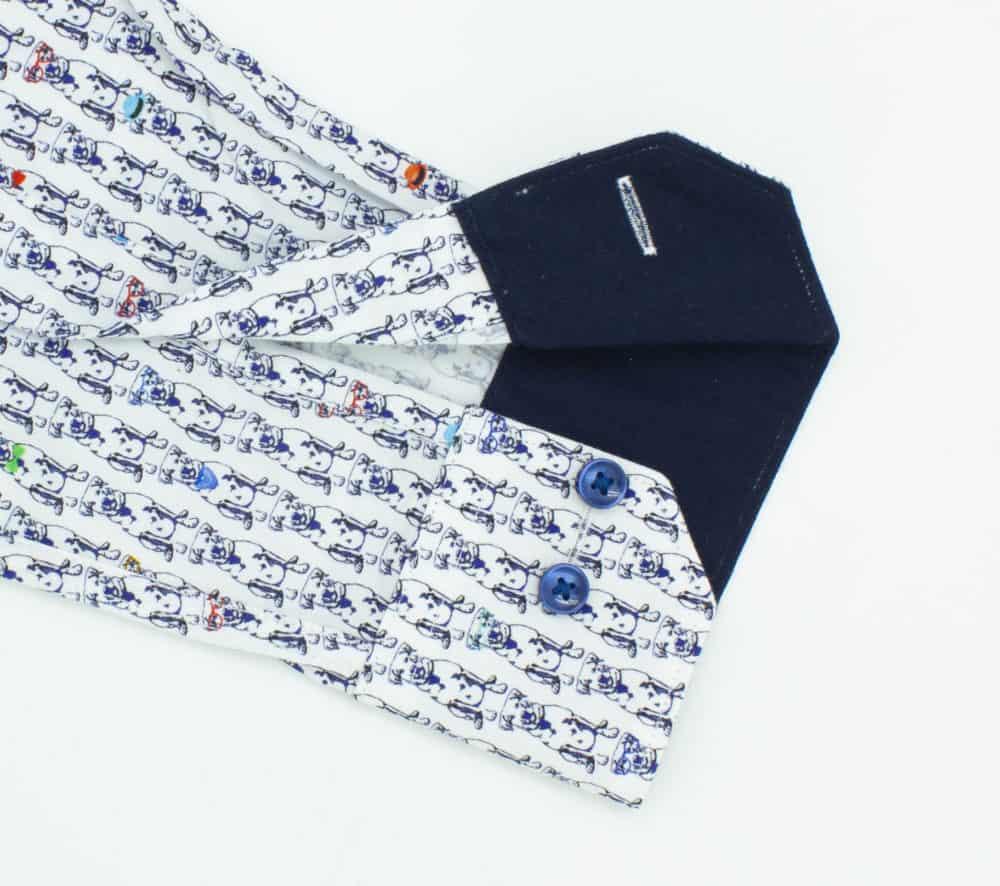 TF Navy Doggie Premium Italian Fabric Silky Finish Digitally Printed Long Sleeve Single Cuff Shirt TF45A2.13