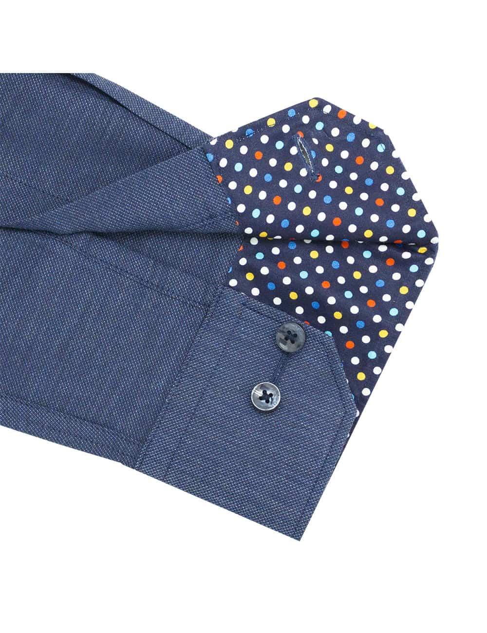 CF Blue Heather Easy Iron 100% Cotton Long Sleeve Single Cuff Shirt CF2A28.15