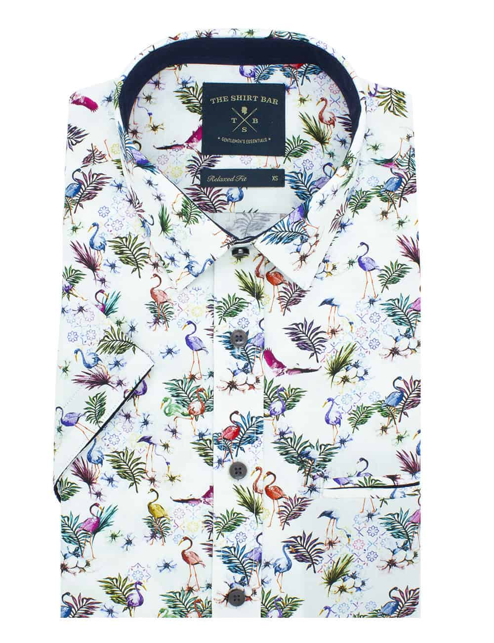 Relaxed FitPremium Italian Fabric Digitally Printed Short Sleeve Men's Shirt