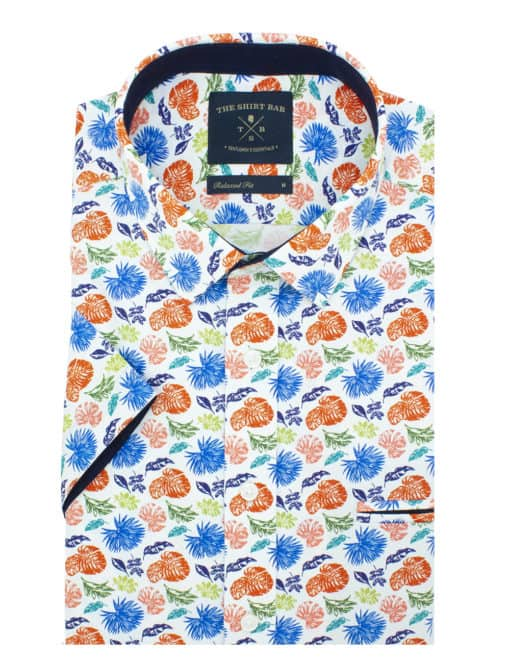 Relaxed Fit Orange Floral 00% Premium Cotton Sateen Digitally Printed Short Sleeve Shirt RF9SNB11.12