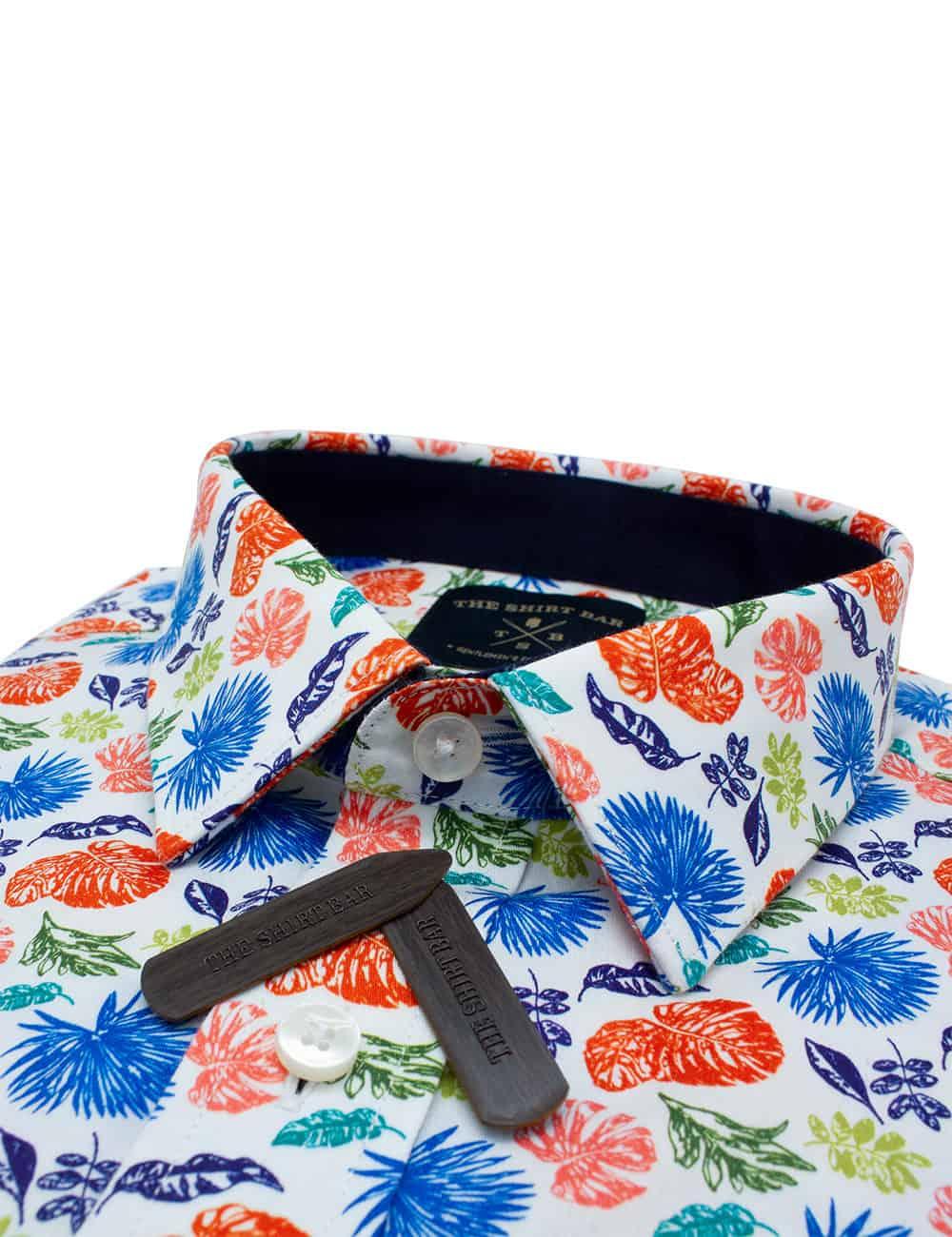 RF Orange Floral 00% Premium Cotton Sateen Digitally Printed Short Sleeve Shirt RF9SNB11.12