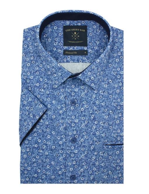 Relaxed Fit 100% Premium Cotton Sateen Digitally Printed Short Sleeve Men's Shirt