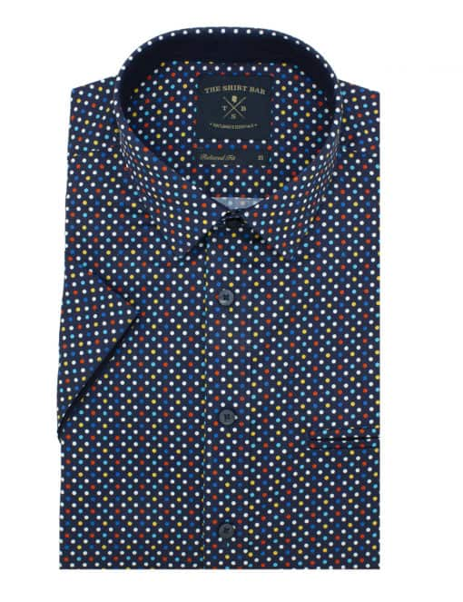 RF Navy with Polka Dots 100% Premium Cotton Sateen Digitally Printed Short Sleeve Shirt RF9SNB14.12