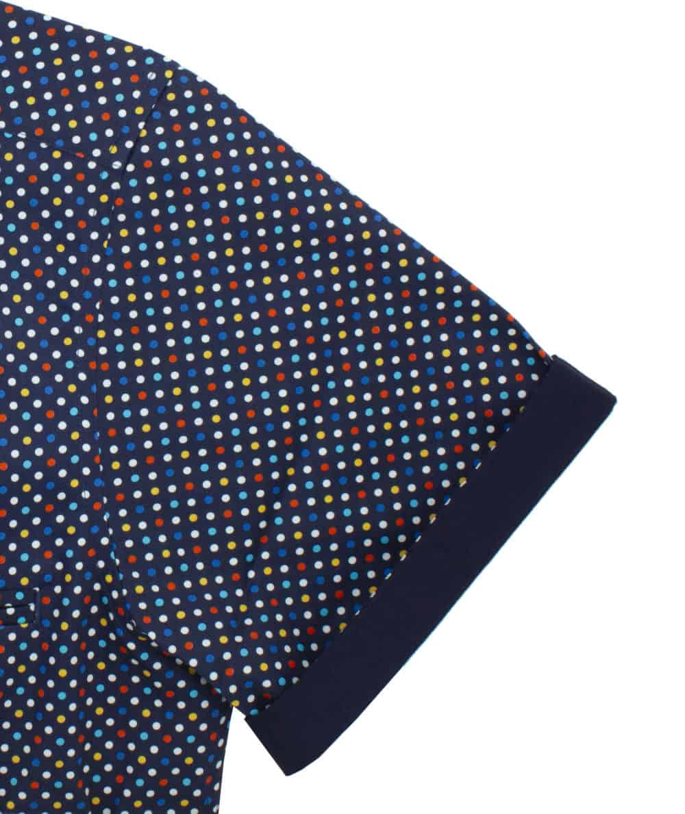 RF Navy with Polka Dots 100% Premium Cotton Sateen Digitally Printed Short Sleeve Shirt RF9SNB14.12