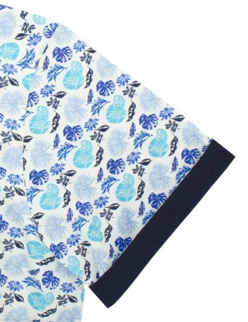 RF Blue Floral 100% Premium Cotton Sateen Digitally Printed Short Sleeve Shirt RF9SNB2.12