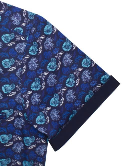 RF Blue Floral 100% Premium Cotton Sateen Digitally Printed Short Sleeve Shirt RF9SNB3.12