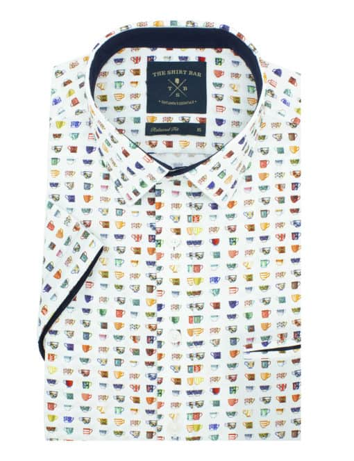 Relaxed Fit Premium Italian Fabric Digitally Printed Short Sleeve Men's Shirt