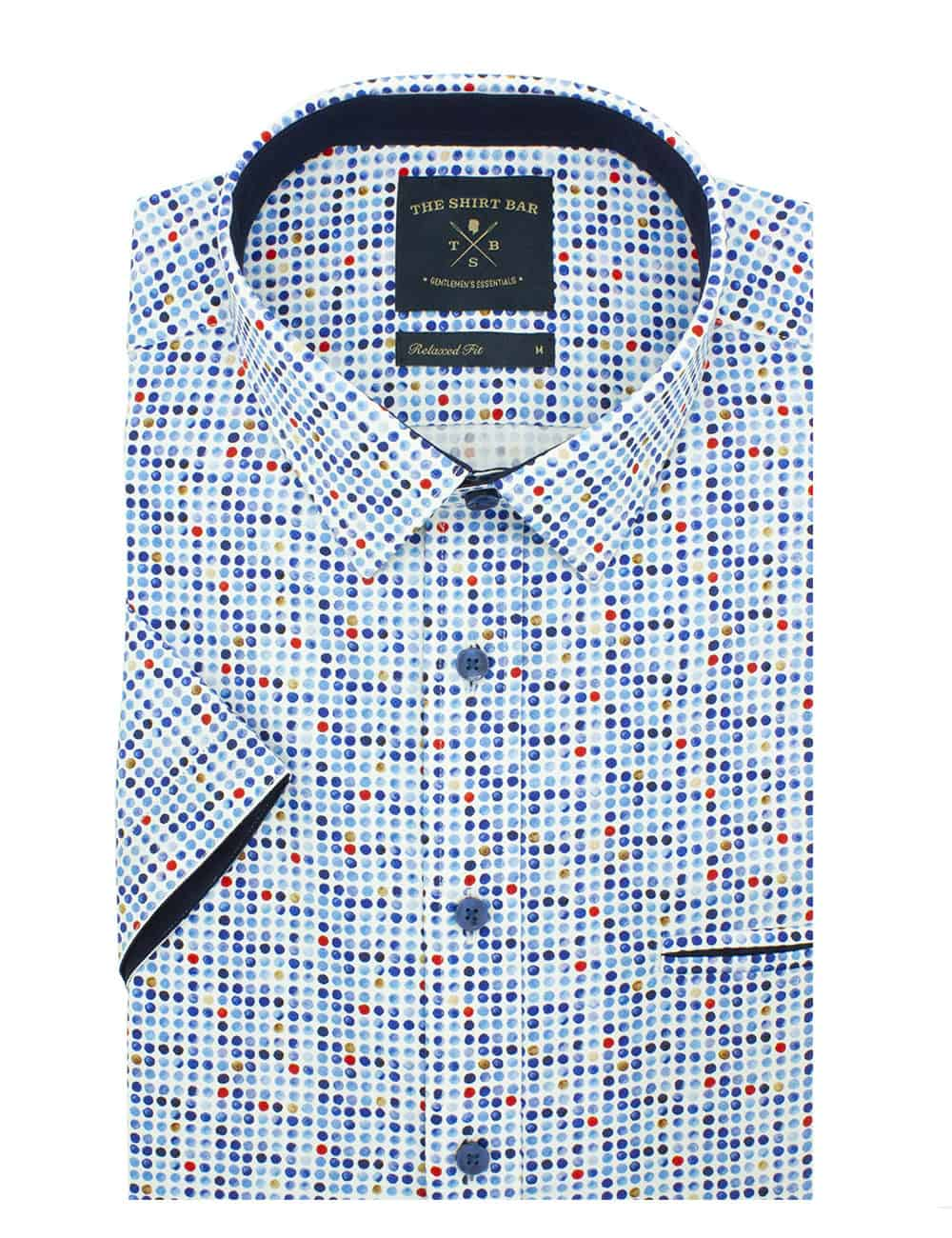 Relaxed Fit 100% Premium Cotton Sateen Short Sleeve Men's Shirt (Digitally Printed)