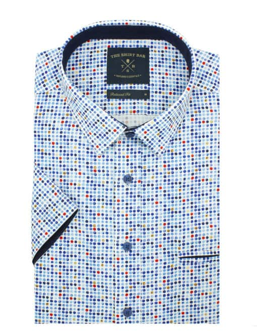 RF Blue Polka Dots 100% Premium Cotton Sateen Digitally Printed Short Sleeve Shirt RF9SNB6.12