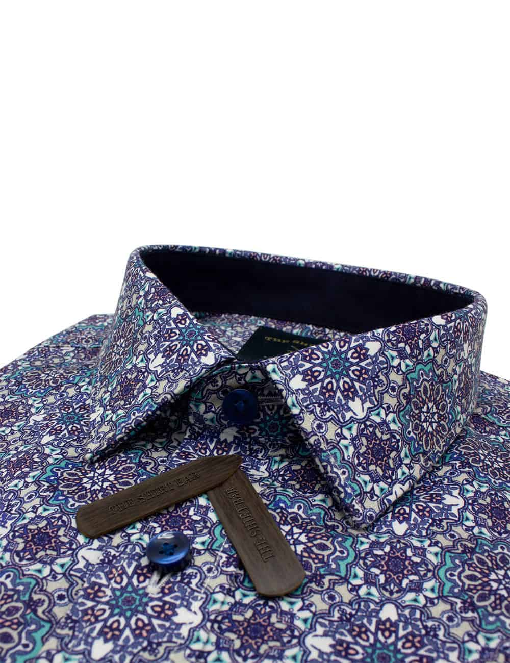 RF Grey Geometric 100% Premium Cotton Sateen Digitally Printed Short Sleeve Shirt RF9SNB8.12