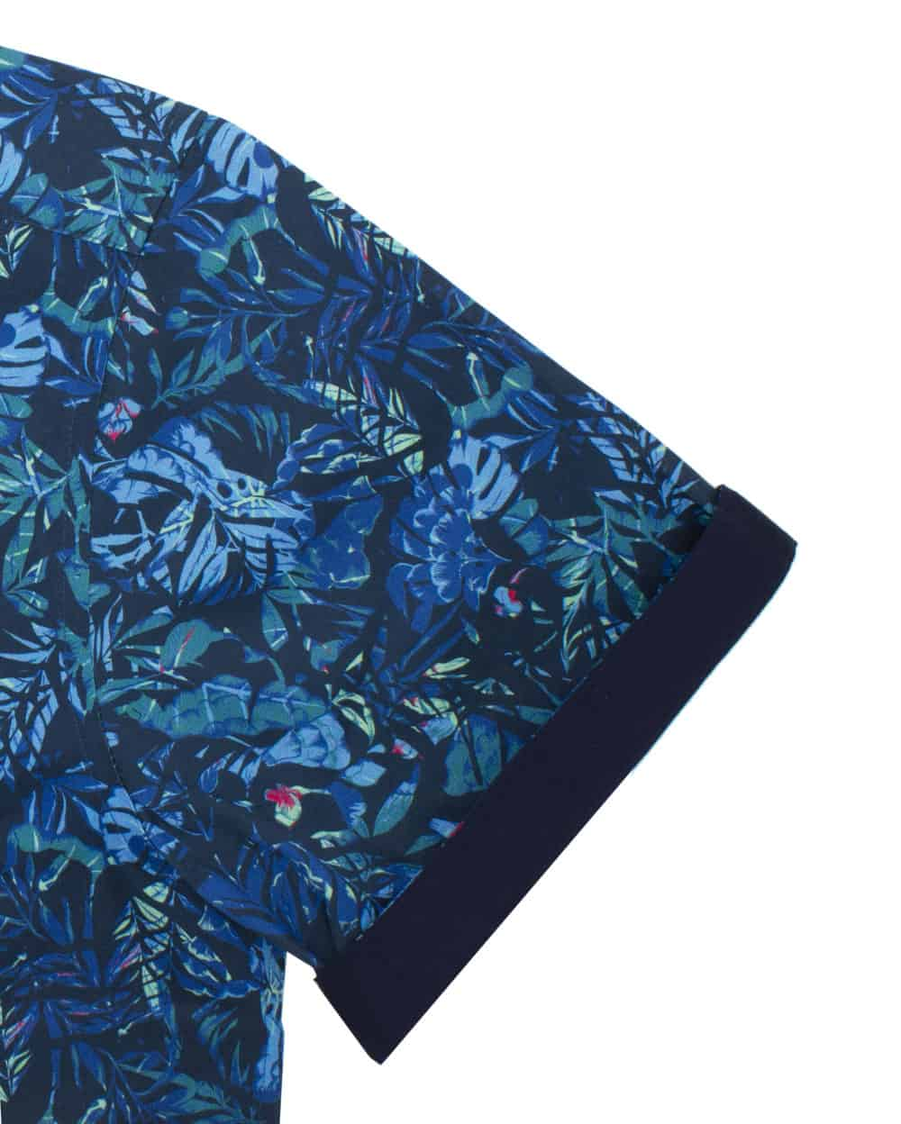 RF Navy Leaf 100% Premium Cotton Sateen Digitally Printed Short Sleeve Shirt RF9SNB9.12