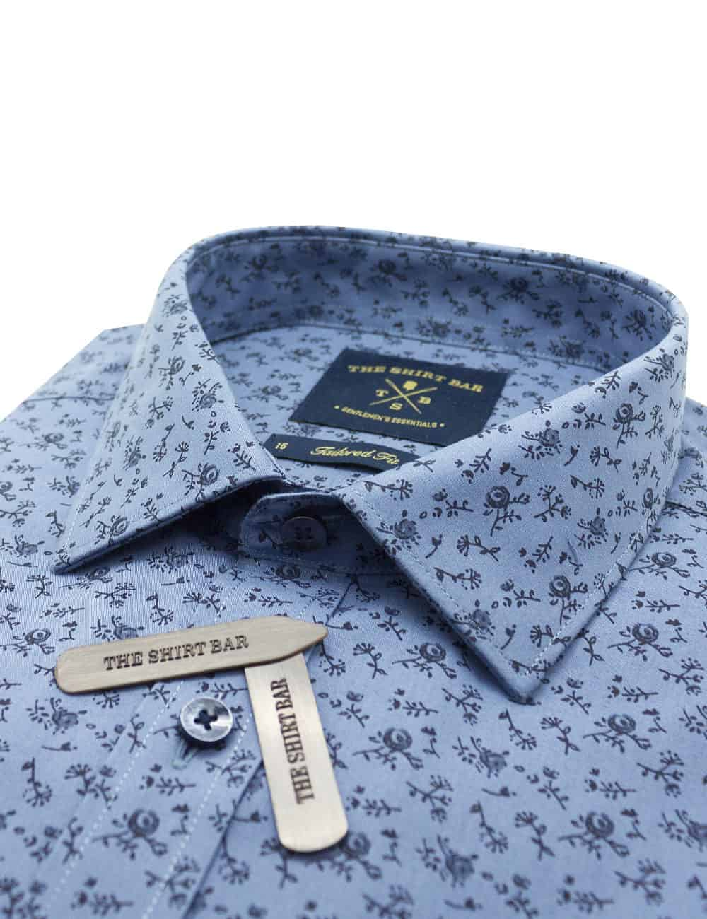 TF Grey with Black Floral Print 100% Premium Cotton Long Sleeve Single Cuff Shirt TF2A10.15