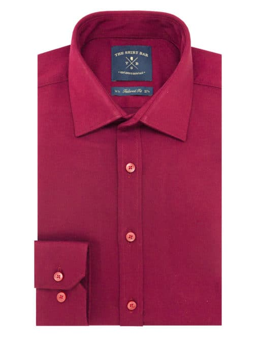 TF Solid Red Twill Eco-ol Bamboo Blend Wrinkle Free Long Sleeve Single Cuff Shirt TF2A18.15