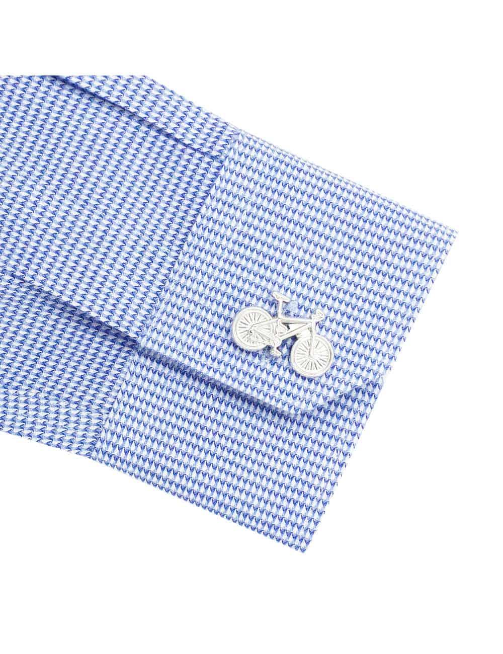 TF Navy Pattern Cotton Blend Spill Resistant Long Sleeve Single Cuff Shirt TF2A6.15