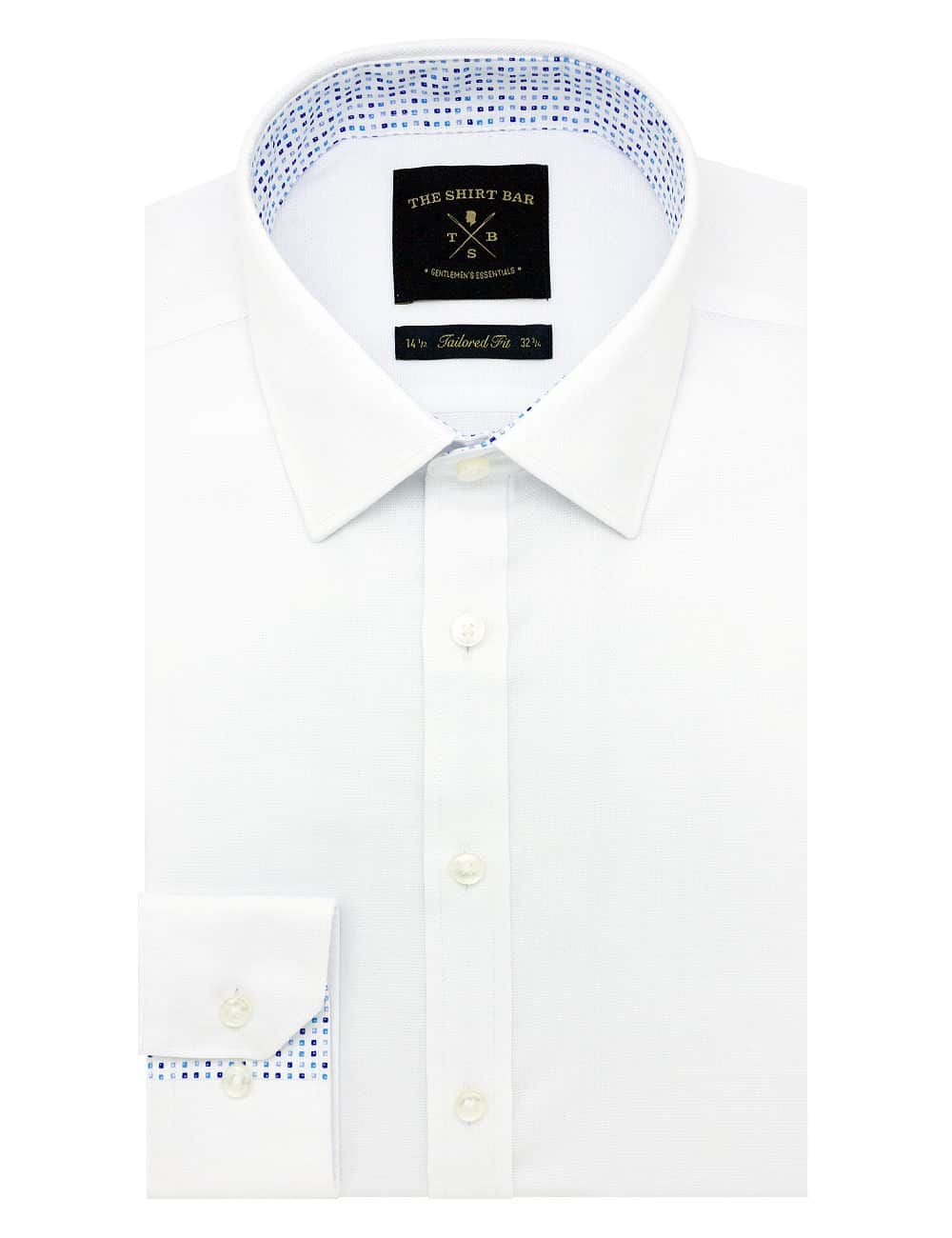 TF Solid White Weave Cotton Blend Spill Resistant Long Sleeve Single Cuff Shirt TF2F1.15