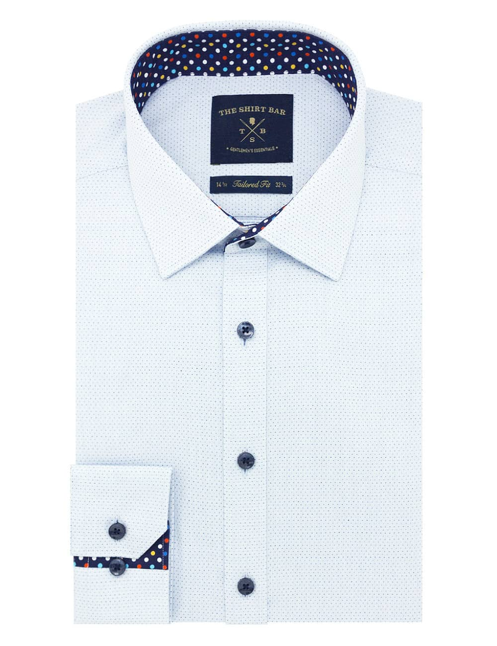 TF Sky Blue with Navy Lines Cotton Blend Spill Resistant Long Sleeve Single Cuff Shirt TF2F2.15