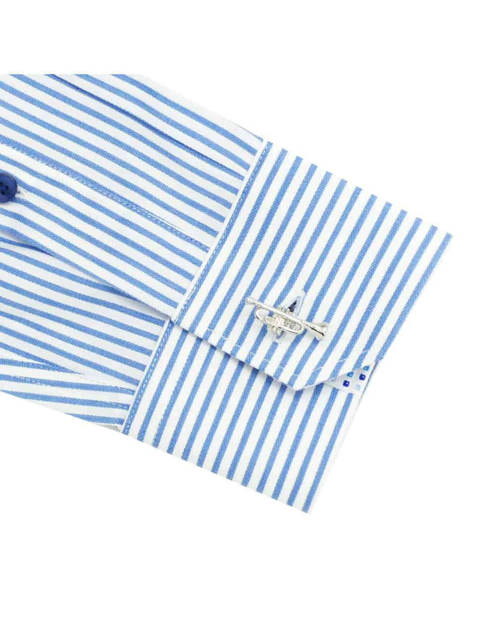 TF White with Blue Stripes Cotton Blend Spill Resistant Long Sleeve Single Cuff Shirt TF2F3.15
