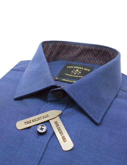 TF Blue Pattern Easy Iron 100% Premium Cotton Long Sleeve Single Cuff Shirt TF2F4.15