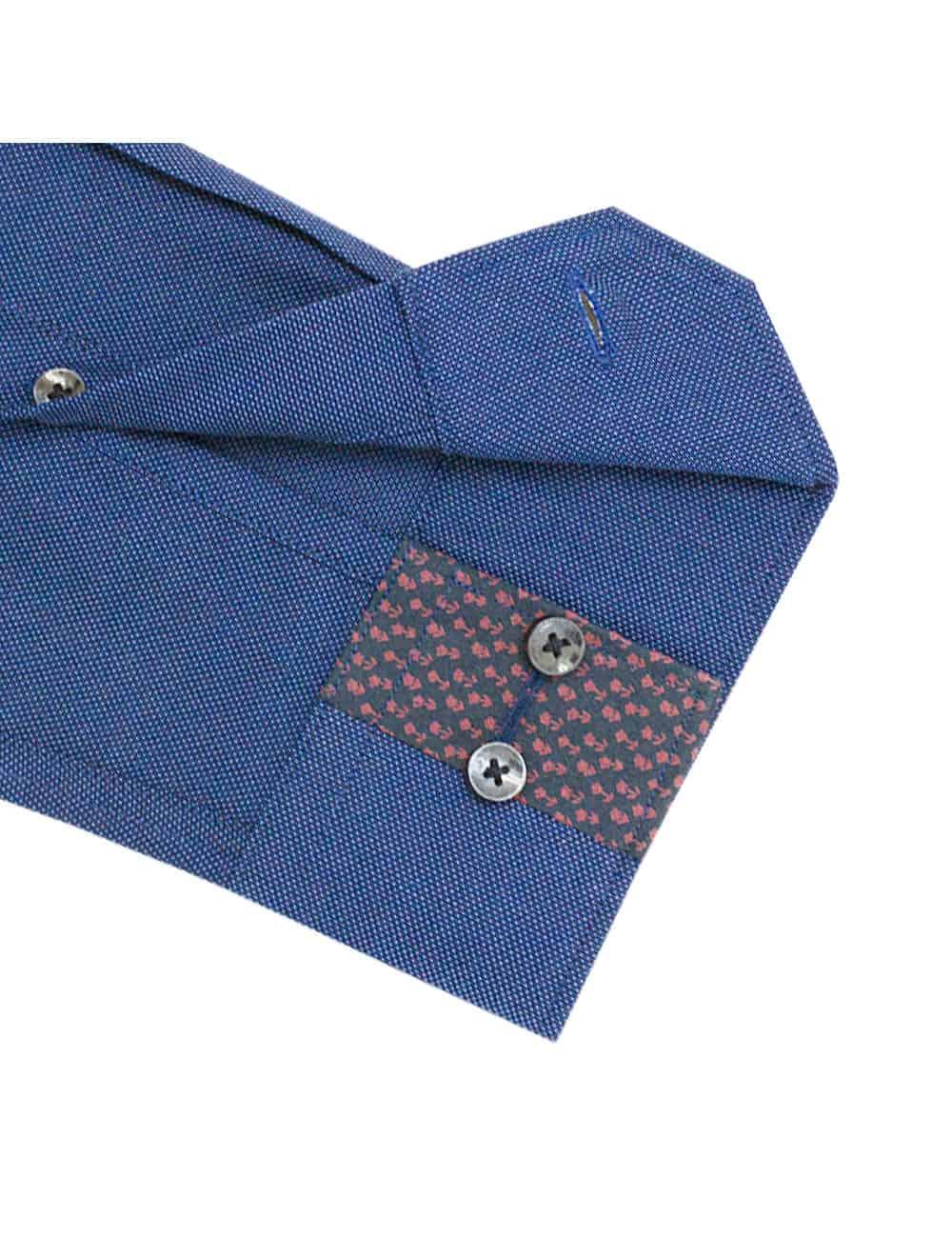 TF Blue Pattern Easy Iron 100% Premium Cotton Long Sleeve Single Cuff Shirt TF2F4.15