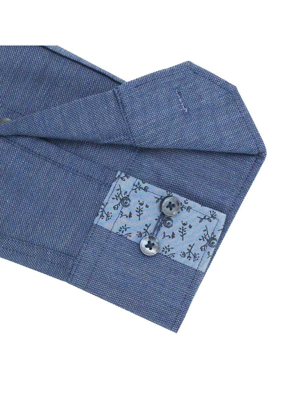 TF Blue Heather Easy Iron 100% Premium Cotton Long Sleeve Single Cuff Shirt TF2F5.15