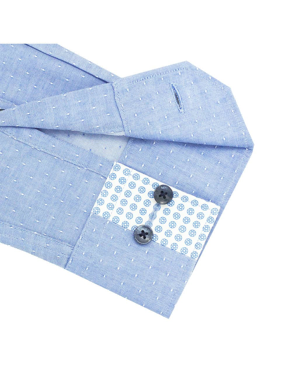 TF Blue with White Dots Cotton Blend Spill Resistant Long Sleeve Single Cuff Shirt TF2F6.15