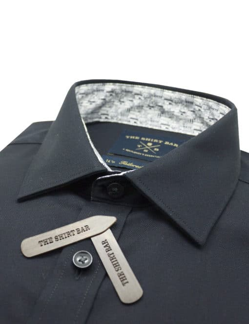 TF Solid Black Easy Iron 100% Premium Cotton Long Sleeve Single Cuff Shirt TF2F7.15