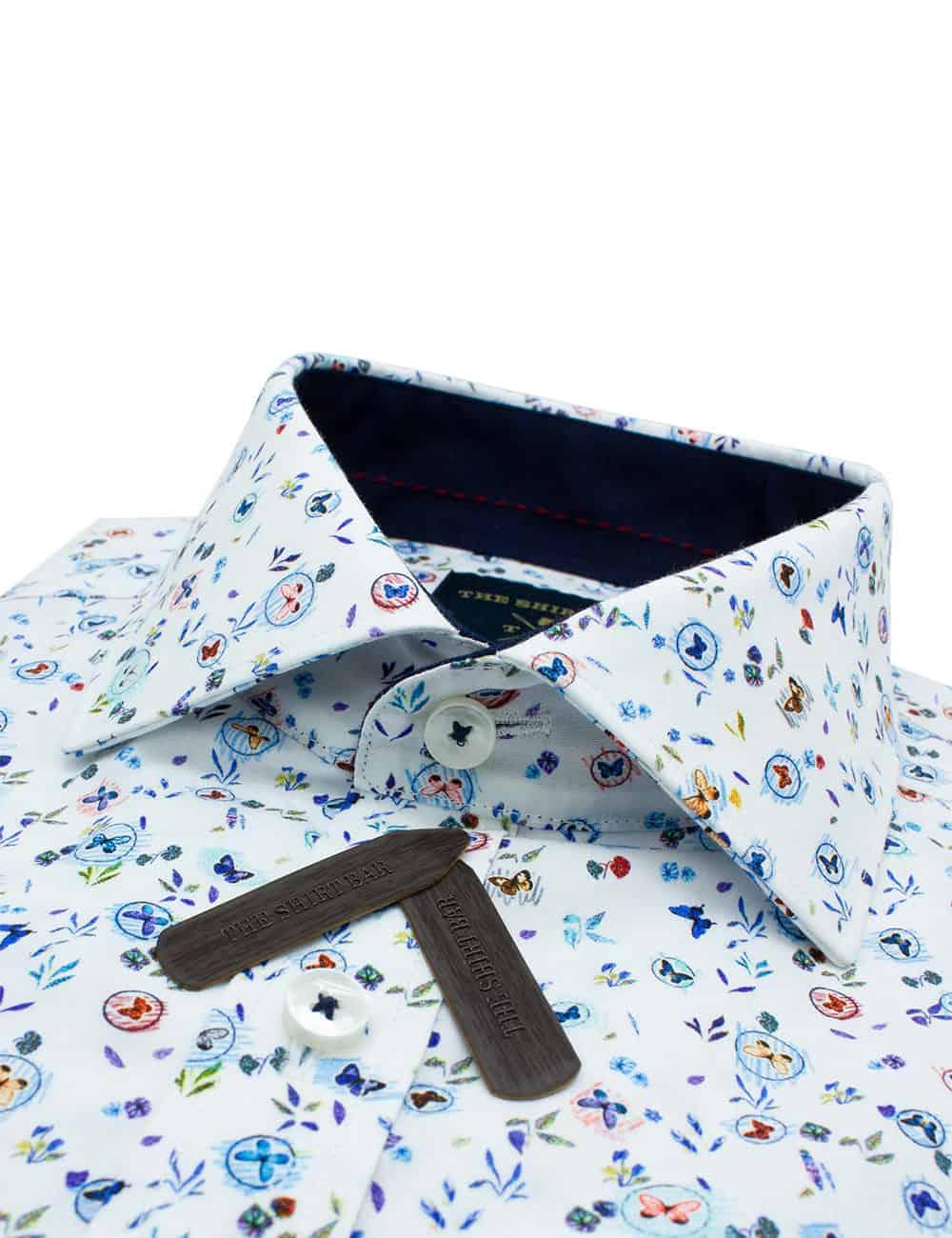 TF Blue Butterfly Premium Italian Fabric Silky Finish Digitally Printed Long Sleeve Single Cuff Shirt TF45A1.13
