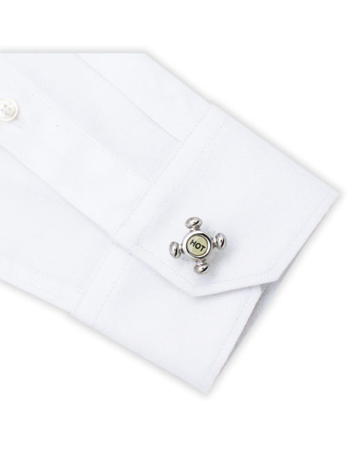 Hot-Cold Chrome Silver Faucet Cufflink