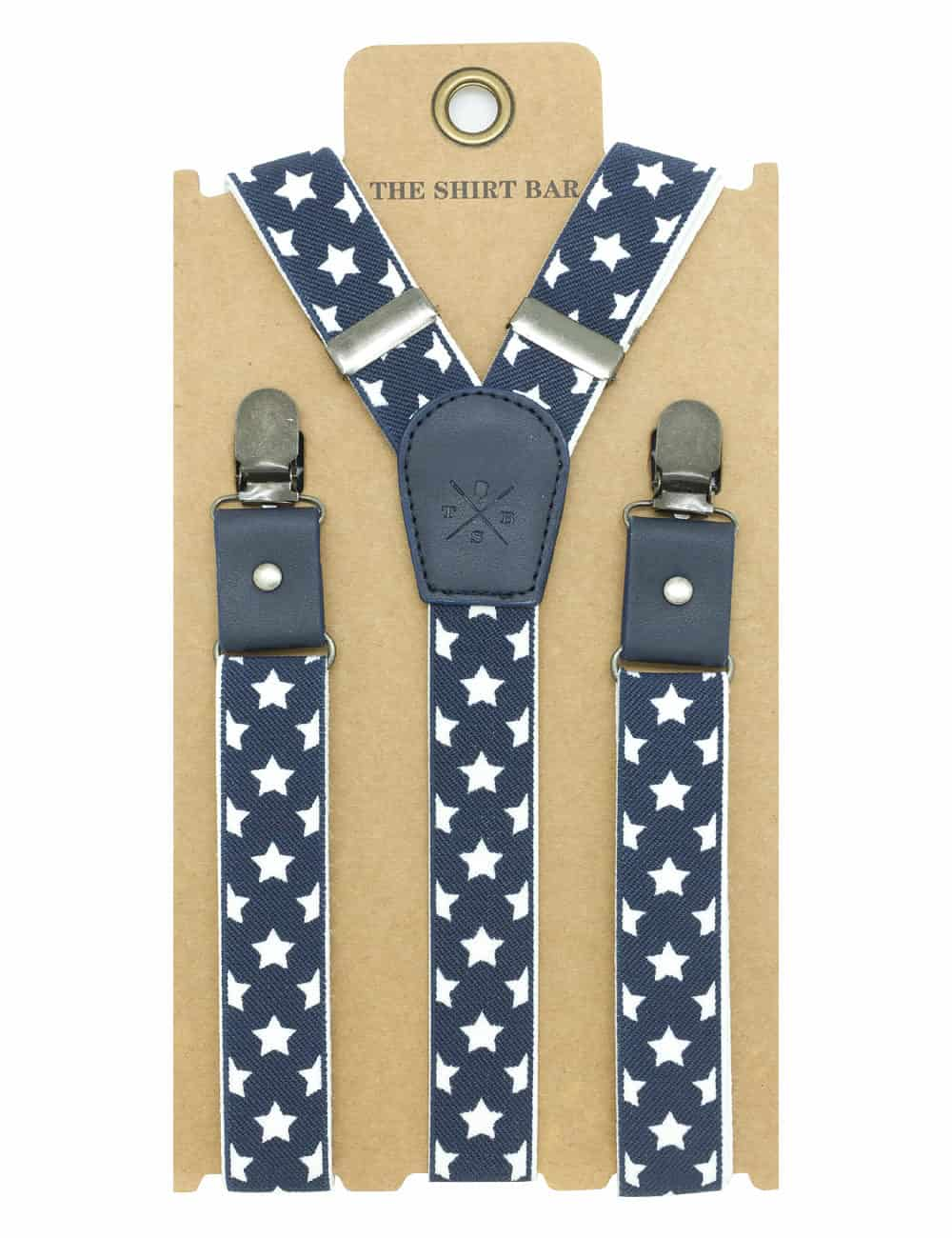 Navy Stars Single Back Clip 2.5cm Suspender with Leather SPD16.3