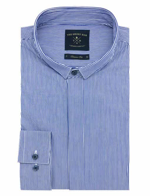 CF White and Navy Wingtip Collar 100% Premium Cotton Long Sleeve Single Cuff Shirt CF14G7.5