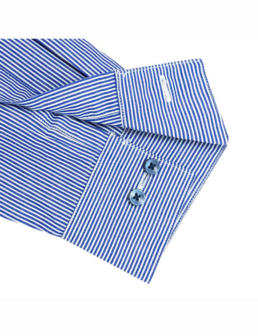 CF White and Navy Wingtip Collar 100% Premium Cotton Long Sleeve Single Cuff Shirt CF14G7.5