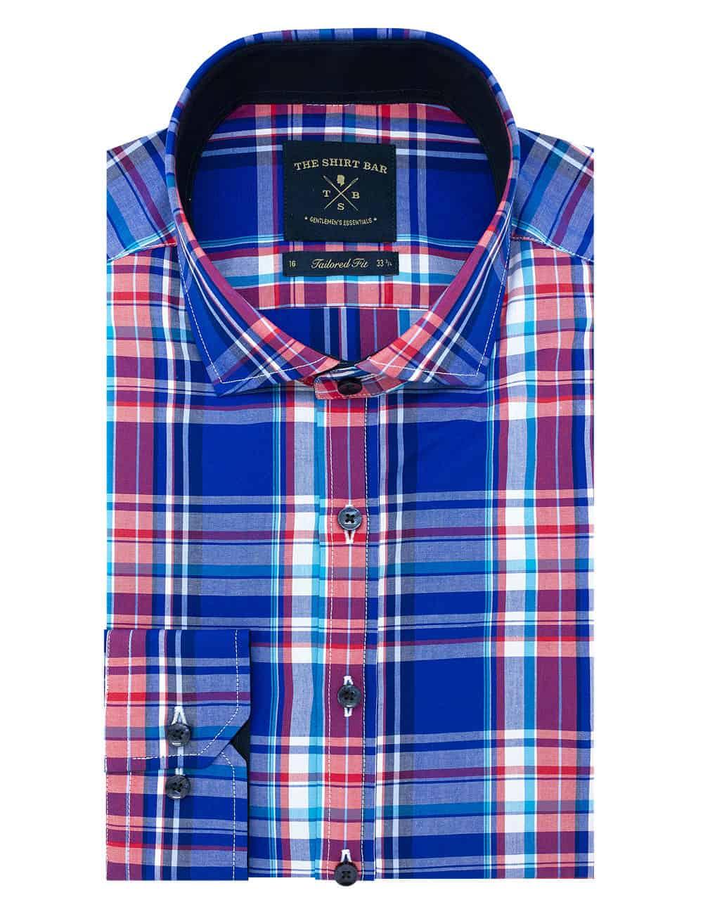 TF Multi Coloured Checks 100% Premium Cotton Long Sleeve Single Cuff Shirt TF1A17.6