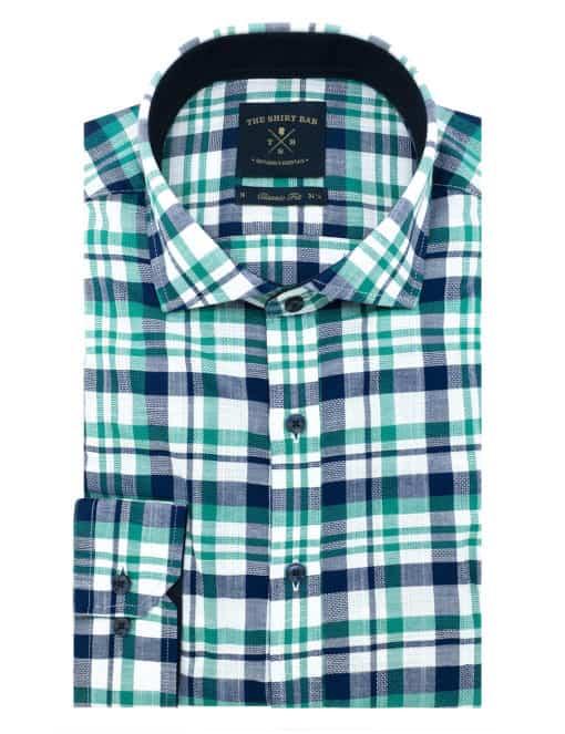 Classic Fit Navy and Green Checks 100% Premium Cotton Long Sleeve Single Cuff Shirt CF1A19.6
