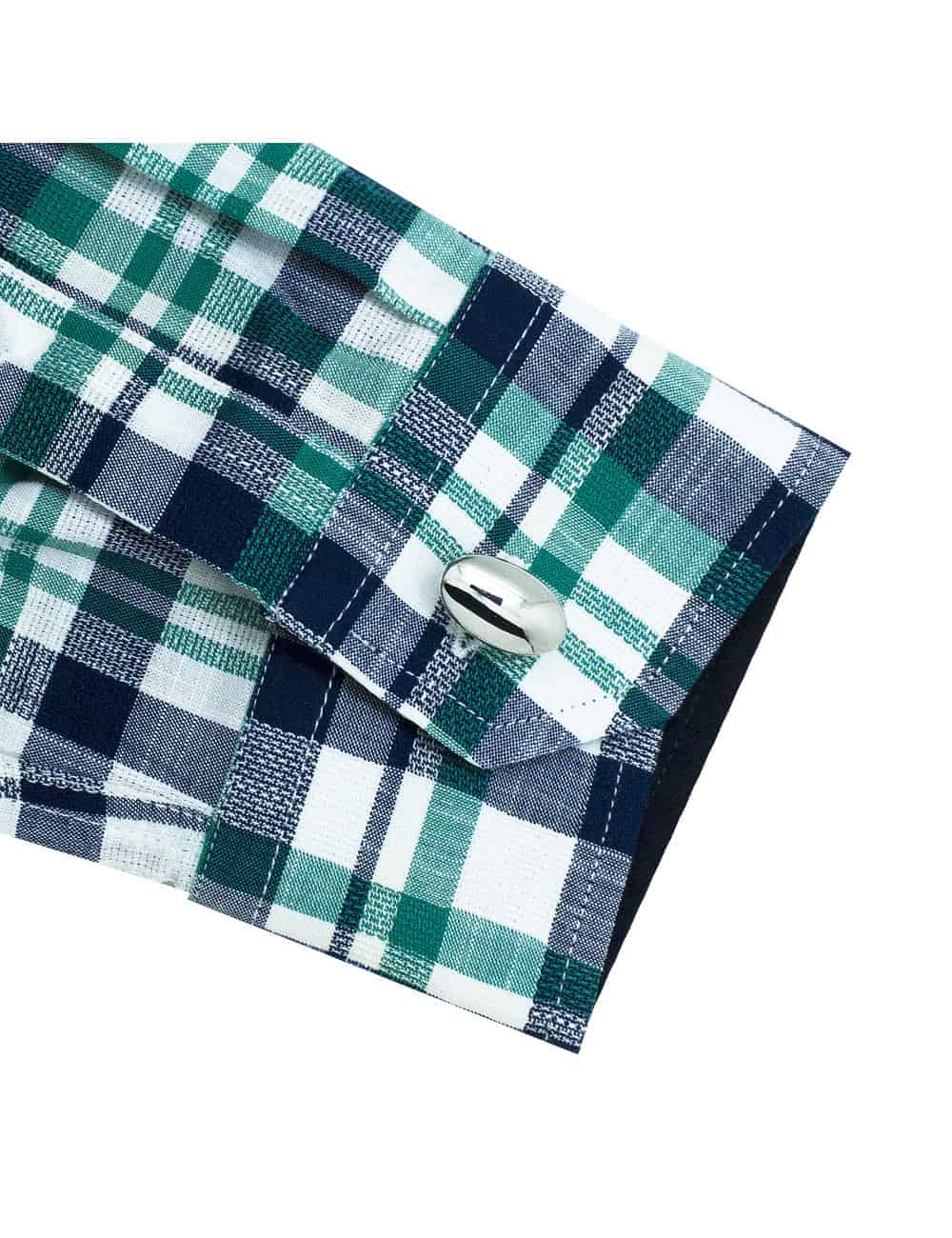CF Navy and Green Checks 100% Premium Cotton Long Sleeve Single Cuff Shirt CF1A19.6
