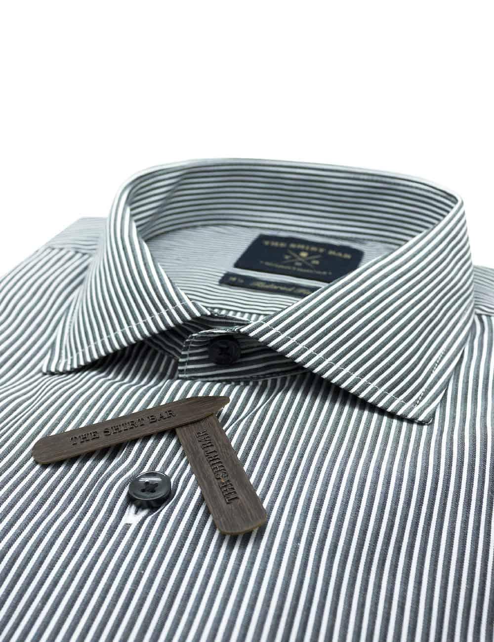 TF Grey and White Stripes 100% Premium Cotton Long Sleeve Single Cuff Shirt TF1C8.5