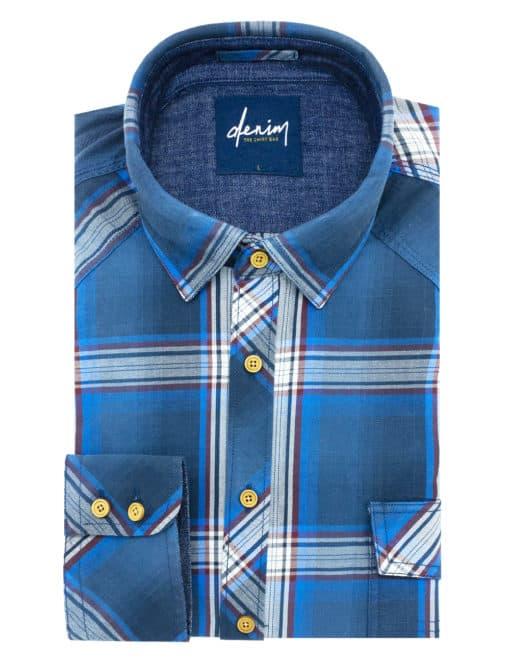 RF Blue Checks Denim Collection 100% Cotton Long Sleeve Single Cuff Shirt RF23K1.5