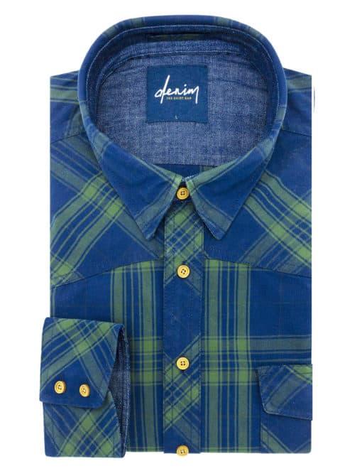 RF Navy and Green Checks Denim Collection 100% Cotton Long Sleeve Single Cuff Shirt RF24K1.5