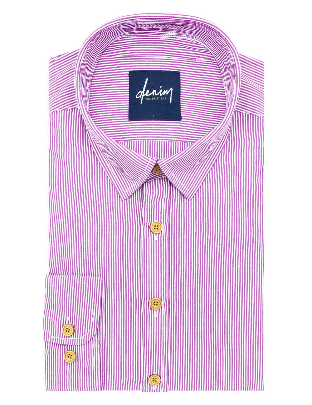 RF Pink and White Stripes Denim Collection 100% Cotton Long Sleeve Single Cuff Shirt RF27B4.5