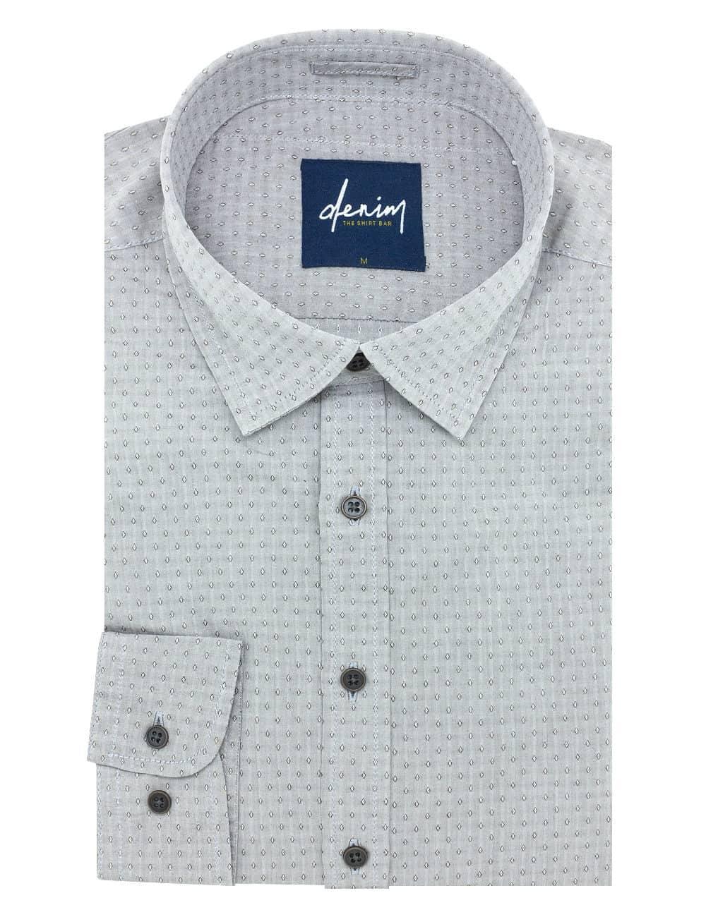 RF Brown Diamond Pattern Denim Collection 100% Cotton Long Sleeve Single Cuff Shirt RF27B6.5