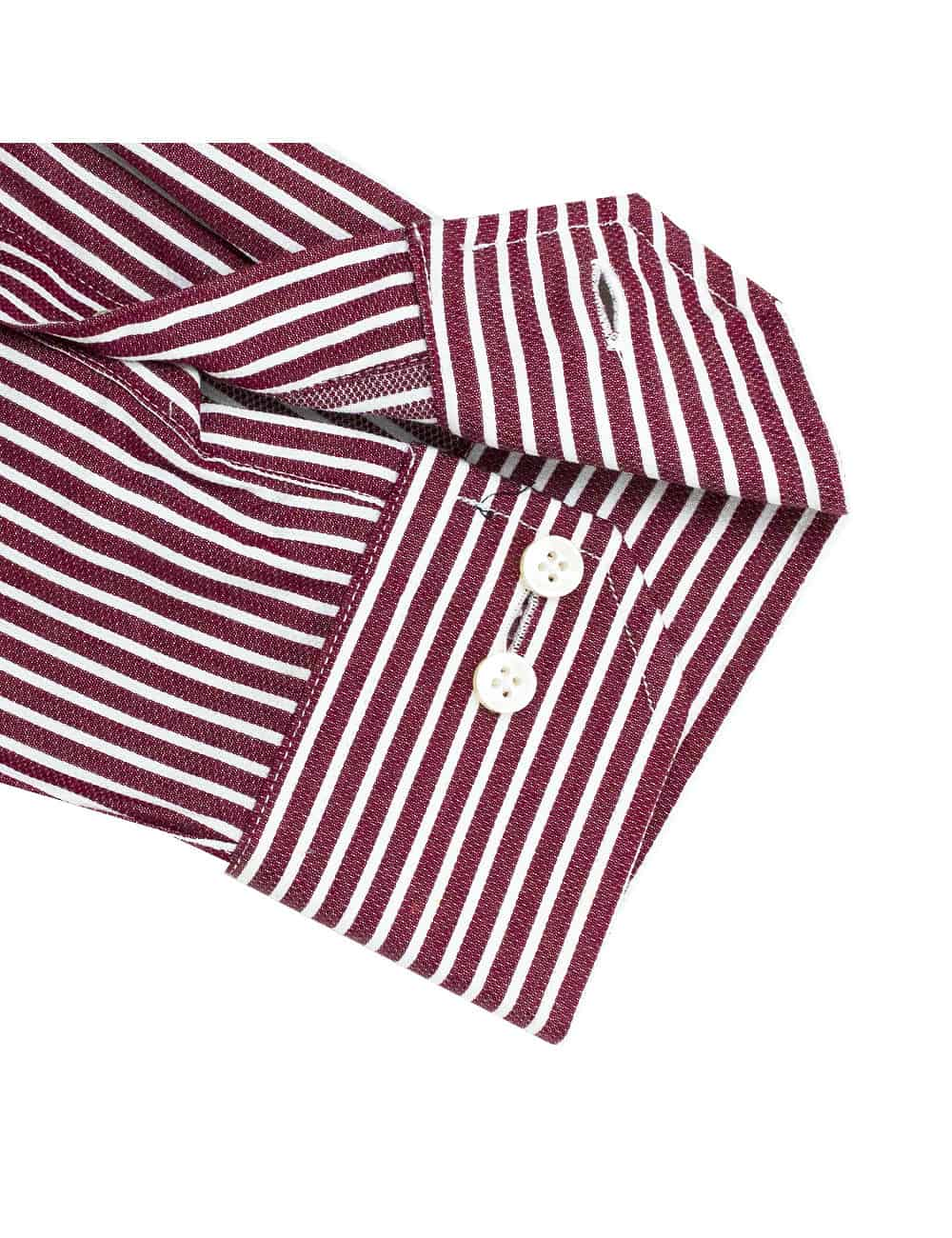 CF Red with White Stripes 100% Premium Cotton Long Sleeve Single Cuff Shirt CF2A18.5