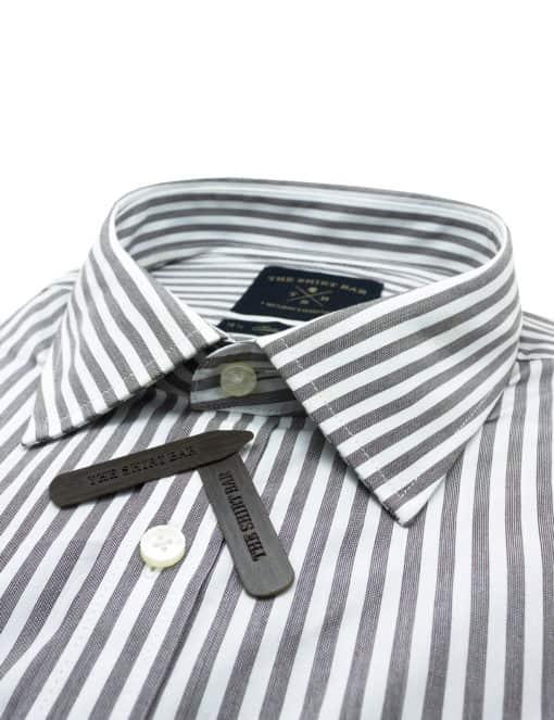 CF Brown and White Stripes 00% Premium Cotton Long Sleeve Single Cuff Shirt CF2A21.3
