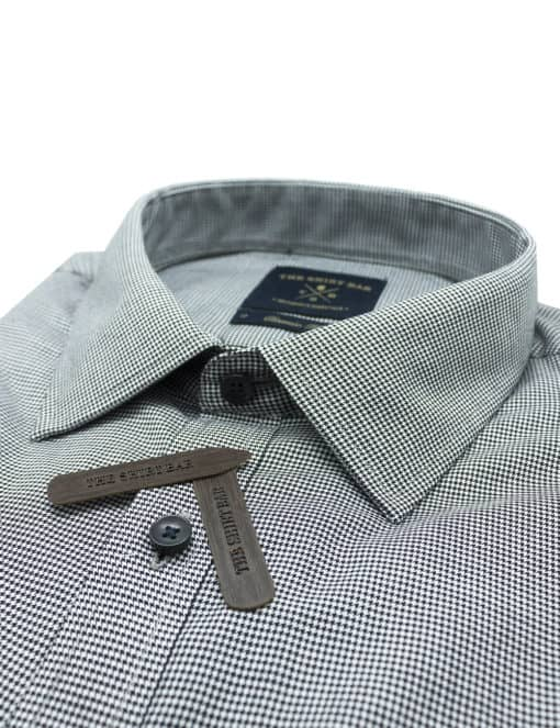Classic Fit Black and White Houndstooth 100% Premium Cotton Easy Iron Long Sleeve Single Cuff Shirt CF2B27.4